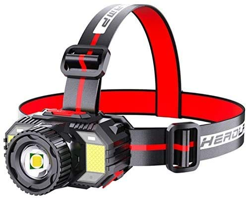 Headlamp Flashlight, Rechargeable Led Head Lamp IPX5 Waterproof Flashlight with Zoomable Light and Sensor Sensing, 4+1 Modes 1000 Lumens Head Lights & Red Light for Camping, Hiking, Outdoors