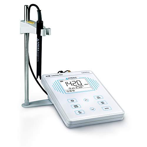 Apera Instruments AI502 EC700 Benchtop Lab Conductivity/Temperature Meter, Plastic, 1% F.S Accuracy, 0-200.0 mS/cm Range, 1-4 Points Auto Calibration