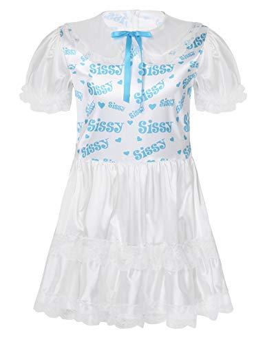 inlzdz Herren Kleid aus seidigem Satin, mit Spitze besetzt und gerüscht, für Erwachsene, Baby-Puppenkostüm Gr. XL, blau