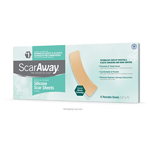 """ScarAway Advanced Skincare Long Silicone Scar Sheets for Hypertrophic Scars and Keloids Caused by Surgery, Injury, Burns, C-Section and More, 1.5"""" x 7"""", 12 Sheets"""