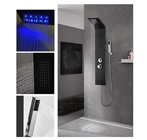 vanvilla LED Duschpaneel Massage Alu Brausepaneel Mattschwarz Einhebelmischer Regendusche Duschsäule Cristobal