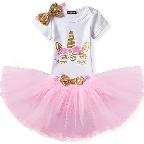 NNJXD Kleinkind Mädchen Einhorn-Regenbogen Tutu Kleid 3Pcs Outfits Romper + Rock + Stirnband Größe (90) 19-24 Monate Rosa