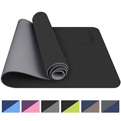 TOPLUS - Alfombra de yoga para gimnasio, materiales TPE reciclables, ultra antideslizante y duradera, 183 x 61 x 0,6 cm, no tóxica, alfombra de suelo para deporte y fitness, Negro