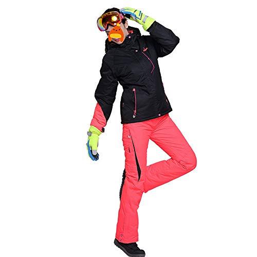 Women Skianzug 2-teiliges wasserdichte Jacke/Schnee Latzhose Damen Winddichtes verdicken Warm-Baumwollkleidung Geeignet für Skiurlaub,Orange,XL
