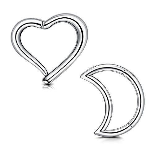 Briana Williams 2 Pezzi Clicker Incernierato Daith in Acciaio Chirurgico Anello a Forma di Luna Cuore Cartilage Helix Rook Orecchio Piercing