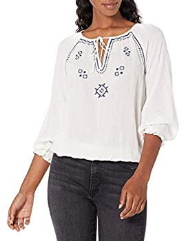Lucky Brand Women s Long Sleeve V-Neck Embroidered Peasant Top Bright White M