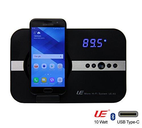 10 Watt Soundsystem mit Wecker Uhr Radio USB C für Samsung Galaxy A20e A40 A50 A70 A80 S9 S9+ A8 A9 S8 Plus Duos Note 8 Galaxy A3 & A5 (2017 2018) S10 Bluetooth Fernbedienung schwarz