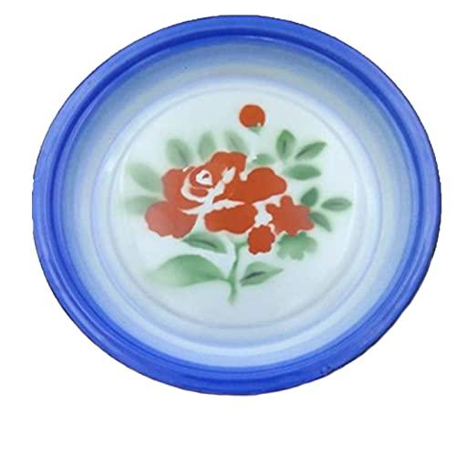 LXHDKDT Disco de Esmalte nostálgico Antiguo, Plato de té esmaltado, Plato de Fruta esmaltado, Estilo Chino