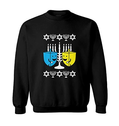 Happy Dreidels - Ugly Hanukkah Sweater Toddler Fleece Crewneck Sweater (Black, 4T)