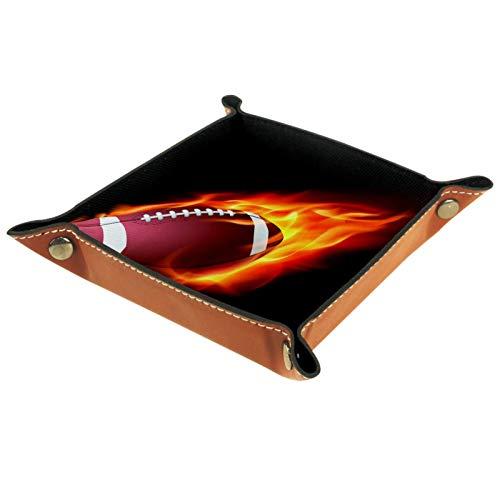 Ledertablett,Schmucktablett Dekoplatte,American Football Fire (2),Leder Tablett,Aufbewahrungstablett für Schmuck Schlüssel Armbanduhr Wohnzimmer Tisch Küche