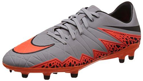 NIKE New Men's Hypervenom Phelon II FG Soccer Cleat Grey/Total Orange 12