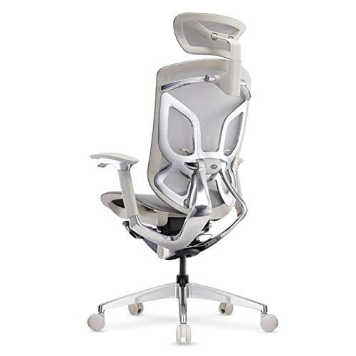 HIZLJJ Sedia ergonomica, Sedia Computer reclinabile, Sedia da Ufficio Gaming Chair, Sedia Boss, Mezzo Guardia Sedia di Parte Girevole (Color : Gray)