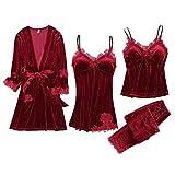 WOOKIT 4 Stück Frauen Mädchen Pyjama Set Nachthemd Blumen Nachtwäsche V-Ausschnitt Verdicken Lässig Elegante Homewear Anzüge-Weinrot-M
