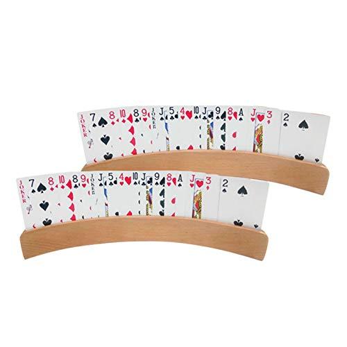 Magent Soporte para cartas de juego, 2 unidades, madera, soporte para tarjetas para discapacitados, para jugar con las manos libres, niños, personas mayores