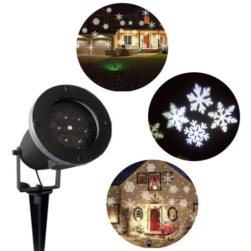 Proiettore LED, motivo fiocchi di neve, illuminazione natalizia da esterno, le luci sono di colore bianco
