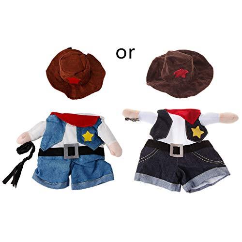 FlYHIGH Costume Divertente per Cani e Gatti, Abbigliamento Dottore, Poliziotto e Cowboy