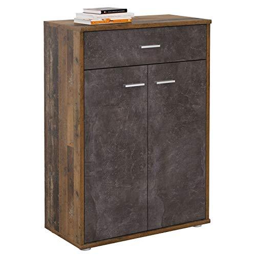 CARO-Möbel Kommode Tommy Sideboard Schrank in Old Style/Beton dunkel mit Schublade und 2 Türen