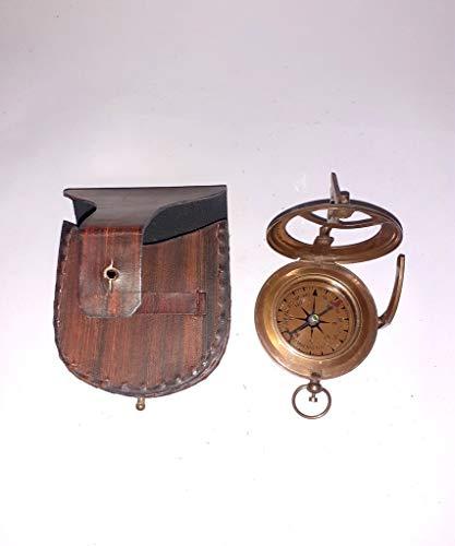 Nautischer Kompass mit Sonnenuhr, Antik-Messing, mit schönem Lederetui, Schwarz