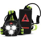 VUENICEE Running Light Ricaricabile USB,Luce Corsa 3 modalità con 360° Nastro Riflettente,IP65 Impermeabile Sport Aria Aperta con Trave Regolabile a 70 Gradi per Jogging, Campeggio, Corsa