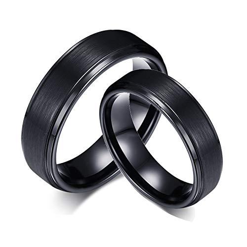 ANAZOZ Paar Ringe Edelstahl Partnerringe Ohne Stein Partnerringe Eheringe aussengravur Schwarz Hochzeit Ring Kiste für Paars Damen 49 (15.6) & Herren 57 (18.1)