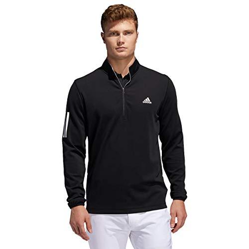 adidas Golf Mens 3-Stripe Midweight Sweater - Black/White - L