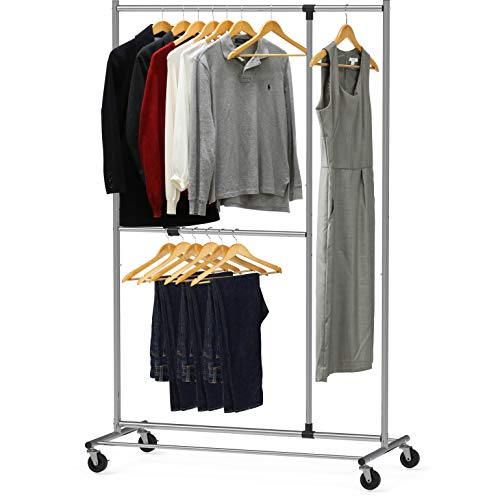 Simple Houseware Dual Bar Adjustable Garment Rack Chrome 72-inch Height