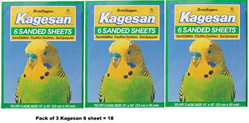 Kagesan Sandpapier für Vogelkäfig, Grün, 3 x 6 Packungen = 18 Bögen 33 cm x 25 cm