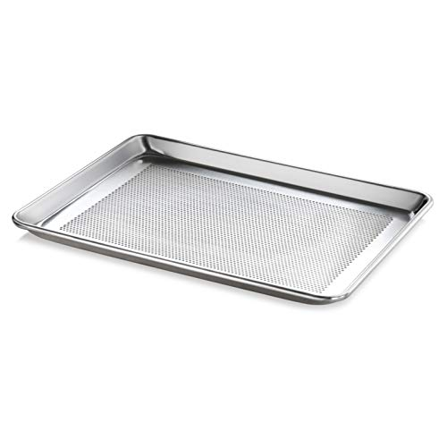 New Star Foodservice 36718 Commercial-Grade 18-Gauge Aluminum Sheet Pan/Bun Pan, Perforated, 13' L x 18' W x 1' H (Half Size)