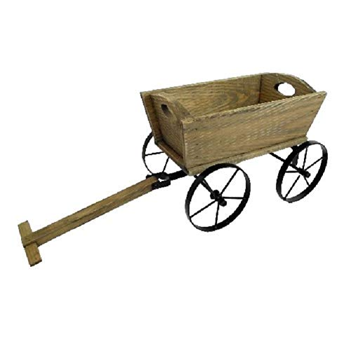 Personalised Rustic Wooden Pushcart Flower Pot Planter Engraved Gift - Enter Your Own Custom Text