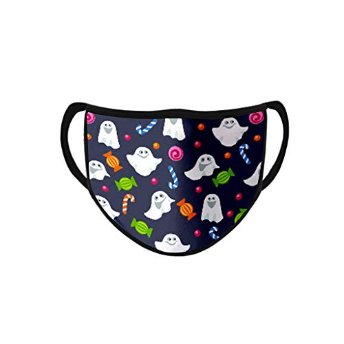 Face Balaclavas Unisex Mouth Cover Dustproof Windproof Anti-Spitting Protective Covering Washable Bandana Halloween Print Scarf Mdsk for Adult (B)