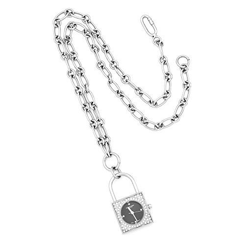 Adornica Diamonds las señoras de Plata esterlina 925 de Acero Inoxidable Negro Charles Hubert dial Reloj Pendiente