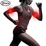 Pack of 2pcs- LED Sports Saftey Flashing Reflective Armband with High Visibility Light up Glow in the Dark Bracelet for Cycling, Jogging, Walking and Running (red)