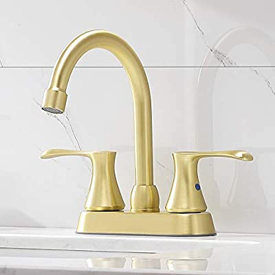 Comllen Best Double Handle Brushed Gold Basin Vanity Bathroom Faucet,Stainless Steel Lavatory Bathroom Sink Faucet With Pop Up Drain And Supply Lines