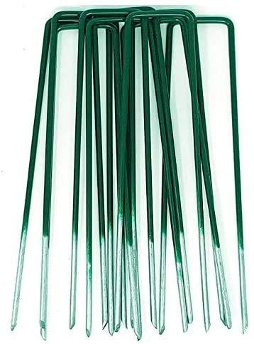 Lucatex Grapas en Forma de U de 17cm x 3,5 cm para Jardín, Césped Artificial, Telas y Mallas - Color Verde - Metálicas - Galvanizadas para Evitar óxido (50)