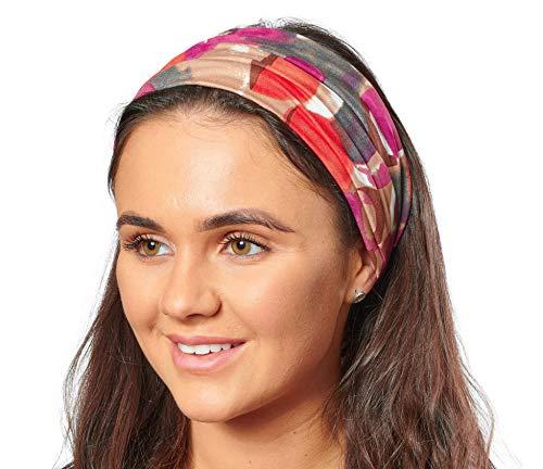 Antonia York, Stirnband für Damen, Turban, breites Kopfband Gr. Einheitsgröße, Orange & Lila abstrakter Druck