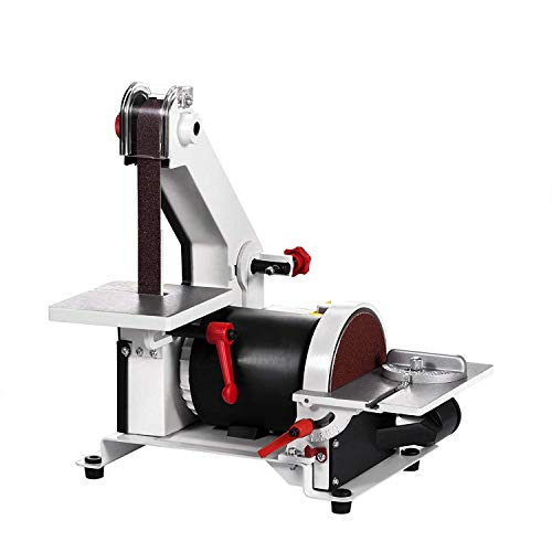 FlowerW 300W Bandschleif Maschine und Disc 2950RPM Bench Sander Multifunktion Bandschleifer Professioanle Mit Differenzgeschwindigkeit (300W)