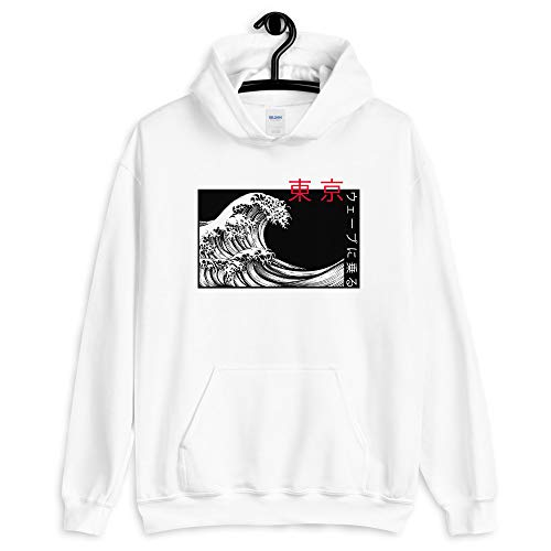 Japanese Kanji Wave Hoodie Front Print - Original Art by Artist Union Clothing (Medium, White)