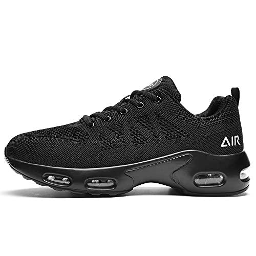 PaSick Men's Air Running Shoes Tennis Jogging Gym Fashion Sneaker Lightweight Knitting Black