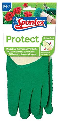 Spontex 12130017 Protect - Guantes Protectores para jardinería (Talla 7-7,5), Color Verde