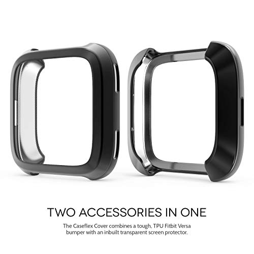 Caseflex Fitbit Versa Screen Protector Case, Dual Armour TPU Gel Bumper with Built in Screen Guard - Ultra Slim 360 Protection Cover For the Fitbit Versa - Black - CF-AZ01-Z124