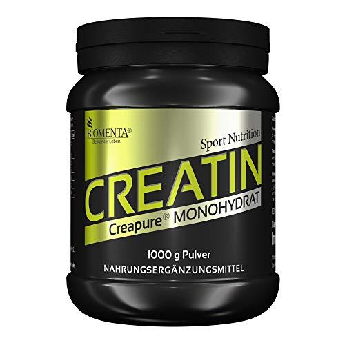 BIOMENTA Creatin Monohydrat (Creapure) - 1000g Kreatin Pulver – vegan - Deutsche Qualität - Für den Kraftsport als Muskelaufbau Pulver