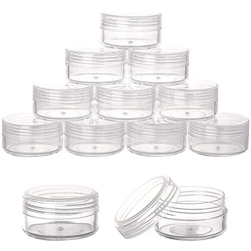 Voarge 50 Piezas Tarros de Plástico, Cosmetica Pequeños Vacío Contenedor de Cosmético, Contenedores Cosmético de Viaje Envases de Vacío Transparente, 5g