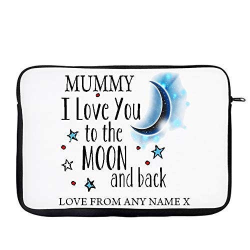 Personalised Mummy I love You To The Moon And Back Laptop Sleeve, Laptop Organiser, Laptop Case Office use Birthday Present. (15')