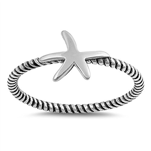 Starfish Rope Ocean Sea Animal Star Ring New 925 Sterling Silver Band Size 9