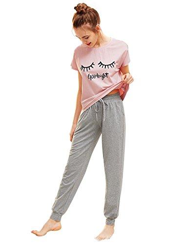 DIDK Damen Schlafanzug Set mit Slogan Kurzarm Shirt und Lang Schlafanzughose Sleepwear Pyjama Set, Rosa+grau, M