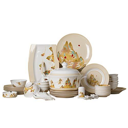 QBLDX Vajilla De Cerámica De 56 Piezas Vajilla Artesanal Servicio De Cena Creativo De Porcelana China Apto para 10 Personas