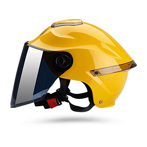 Galatée Casco de motocicleta con visera, adecuado para ciclomotores, scooters, cruceros, pase la prueba de colisión para cumplir con la seguridad vial(Amarillo, Lente marrón)