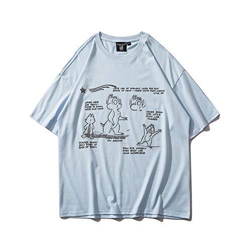 DREAMING-Linda Sudadera de Manga Corta de Dibujos Animados a Verano Camiseta de algodón con Cuello Redondo y Estampado Suelto Top Camisa para Parejas de Hombres y Mujeres L