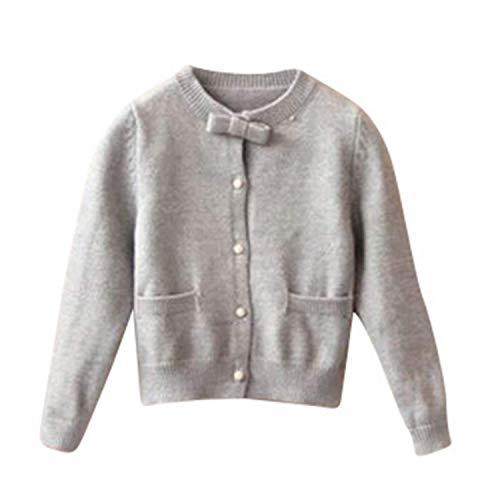 Warm gebreid vest met strik aan de kraag – vest – voor babys – meisjes – lange mouwen – 24 maanden tot 7 jaar – ultra zacht en comfortabel – mooie kwaliteit – Frans merk – grijs – 36 maanden