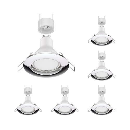 parlat Lámpara de techo empotrada LED CIRC cromada GU10 4,5W 340lm blanca, 6 piezas.